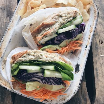 Protein-packed chickpea and vegetable sandwich