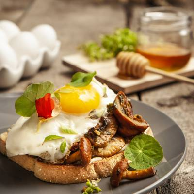 Wild Mushroom Tartine, with a Fried Egg, Fresh Herbs, and Lettuce
