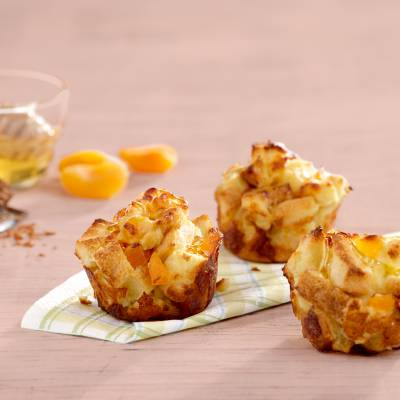 Mini Apricot and Cheddar Bread Pudding