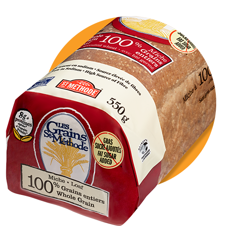 100% whole grain with sprouted wheat loaf