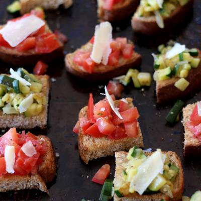 Bruschetta Duo with Tomatoes and Zucchini Croutons